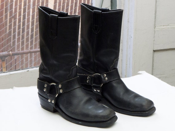 Vintage harness biker boots sz 8 5 9 gt made in usa black leather
