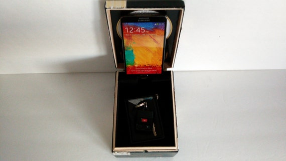 Cigar Box Organizer Valet Charging Station With By