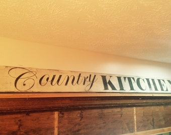 Country kitchen primitive rustic distressed wooden sign for your country decor. Primitive sigs. Kitchen signs.
