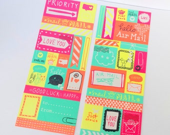 2 sheets of bright / fluorescent stickers, hearts & circles