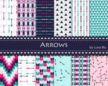 "50% OFF Arrows Digital Paper: ""Arrow Patterns"" Tribal elements, Arrow scrapbooking paper with triangles, chevron, arrows"