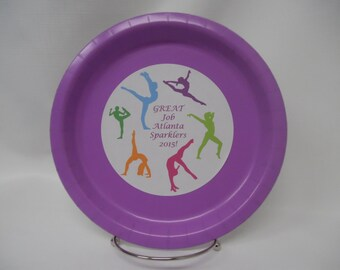 """GYMNASTICS Multi Colored Personalized Silhouettes 9"""" or 7"""" Paper Plates--Will Customize with Your Team/Birthday/Party Colors"""