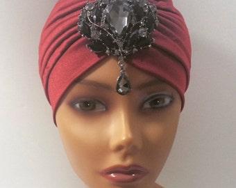Maroon Burgundy Glamorous Turban Pendant Turbanista Bohemian Great Gatsby Bollywood Classic
