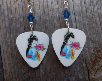 Blue Geisha with Flowers Guitar Pick Earrings with Swarovski Crystals