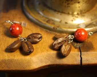 coffee earrings with red coral