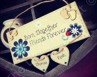 Personalised/Bespoke Handmade Baby Twins Plaque