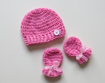 Handmade Crochet Pink Fondant Newborn Hat & Mitten Set with rib detail and complementing button, Made to Order, Can be done in any colour!