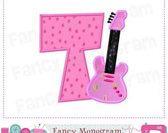 Guitar Monogram T applique, Guitar Letter T applique,Font T,School applique,Birthday,Guitar design,Band applique,Machine Embroidery 01