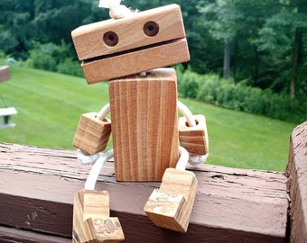 Eco Friendly Ropebot Wooden Robot Toy