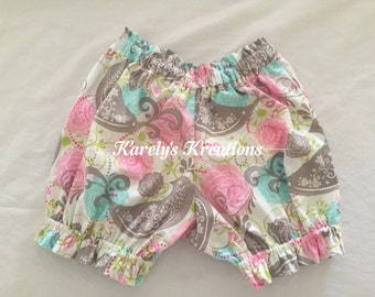 Paisley Birds Bubble Shorts - Shorts-Choose your fabric