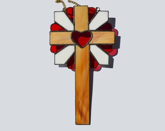 Red Heart Cross wood brown Rustic Decorative Wall Hanging Decor or Window Decoration Baptism Confirmation Gift for godparents Stained Glass