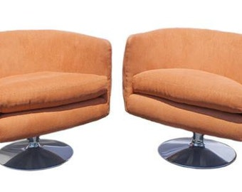 Swiveling Lounge Chair Pair - attributed to Milo Baughman, Adrian Pearsall- Original Vintage Design - Newly Reupholstered, bright orange