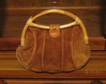 "Vintage 70's Light Brown Suede Leather Purse with Bamboo Handles Boho "" Free Shipping """