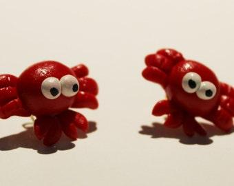 Polymer Clay Red Crab Earrings Jewel Handmade
