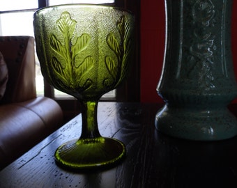 Green Glass Vase, Olive Green Glass FTD Compote, Green Glass Planter, Retro Avocado Green Goblet with Coral, Oak Leaves