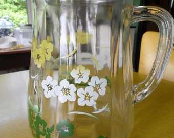 Vintage Glass Pitcher With Yellow, Green, and White Hawaiian Flowers