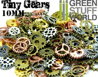 Set 85gr. - tiny COGS and GEARS Steampunk - 150 units - Sizes 10mm - Beads Mix