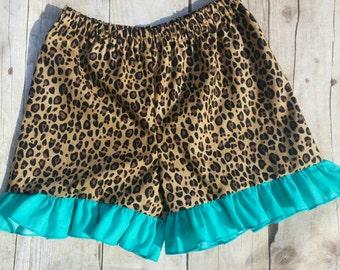 Shorts, Cheetah with turquoise ruffle