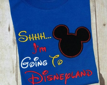 Mickey Mouse t-shirt, Shhhh I'm Going To Disneyland, boys, infant, toddler royal blue SHORT SLEEVE
