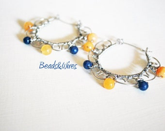 Earring wire wrapping, stone, circle, Orange, blue
