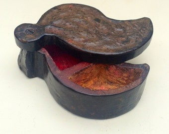 Antique Carved Wooden Tika Box Rajasthan