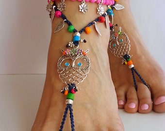 Hippie owl Barefoot sandals Boho sandals, Hippie anklet Crochet sandals Summer jewelry Dark blue Bohemian jewelry Ankle Hippy Gift for her