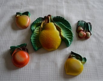 Chalkware Fruit Wall Plaques