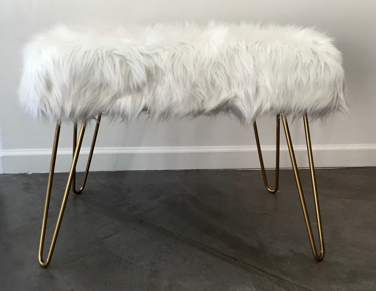 custom faux fur bench with hairpin legs
