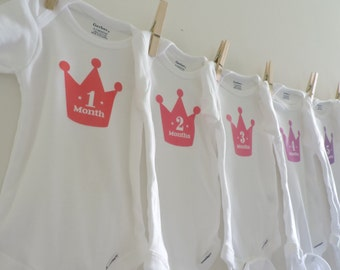Monthly Onesies for Princess' First Year with numbers in Crowns -12 month onesies -Baby Shower Gift - Tiara Monthly  Onesies