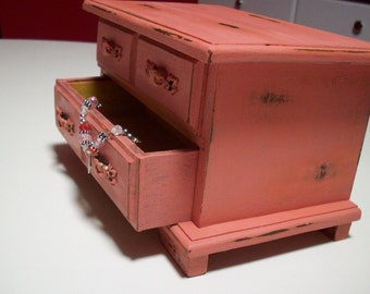 Coral Jewelry Box/ Shabby Cottage Chic Upcycled Wood Jewelry storage Box from Jay Import Co/ Valentine's gift for her