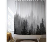Tree Shower Curtain, Tree Decor, Black White Photo, Landscape Photo, Nature Decoration, Bath Decor