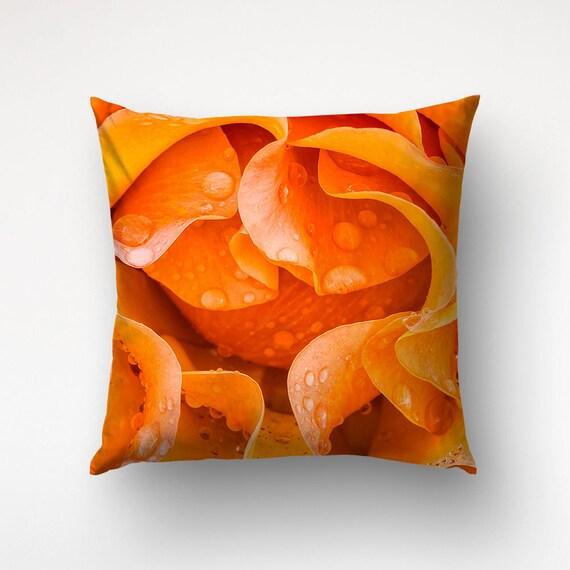 Orange Rose Pillow, Macro Photography, Floral Case, Rose Flower Photo