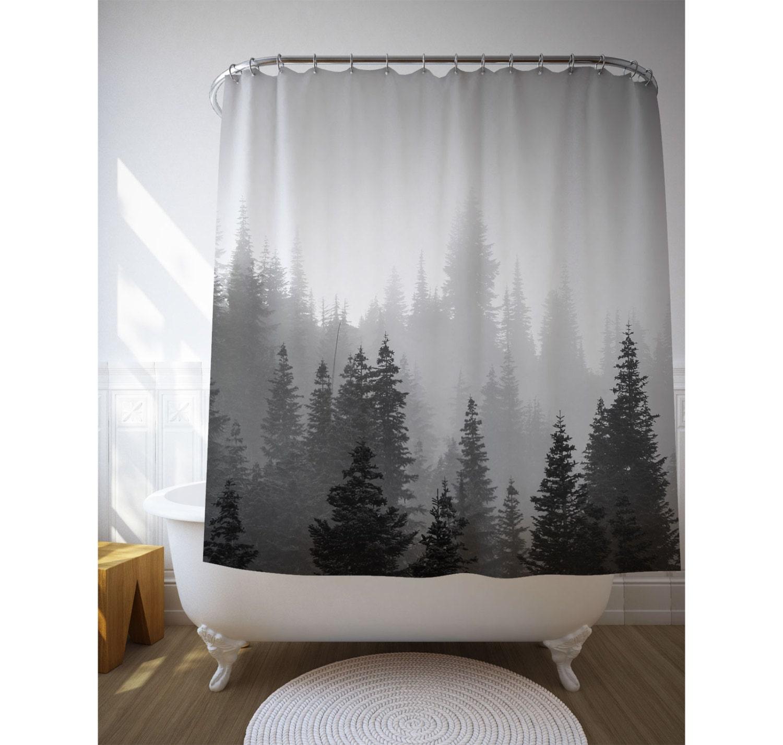 Tree Shower Curtain Tree Decor Black White Photo Landscape