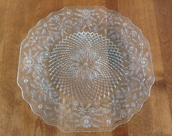 """Indiana Glass PINEAPPLE FLORAL 11-1/2"""" Indented Serving Plate / Platter Clear"""