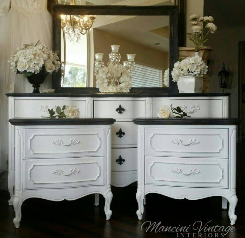 French Provincial Glam Boudoir Bedroom Set Black And White