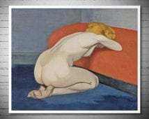Nude Kneeling against a red sofa by Felix Vallotton, Poster Paper, Sticker or Canvas Print