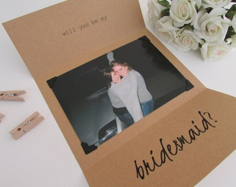 "Be My Bridesmaid Card | Will You Be My Bridesmaid | Photo Card | Bridesmaid Card | Tri-Folded 5""x7"" Card & Envelope"