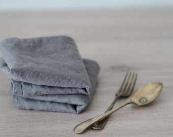 Set of Linen Napkins (Large) - Gray