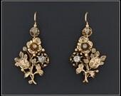 Antique Diamond Earrings | 14k Gold Victorian Earrings | Diamond Flower Earrings | Victorian Diamond Earrings | Fine Bridal Earrings |