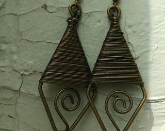 Antique Brass Metal Wire Wrapped Earrings with a Swirl