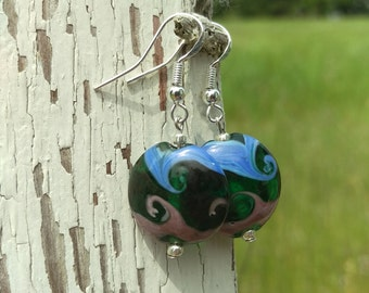 Round Green Glass Bead with Mauve and Periwinkle Swirl Earrings