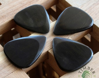 Timber Tones - African Ebony Guitar Picks / Plectrums - Pack of Four