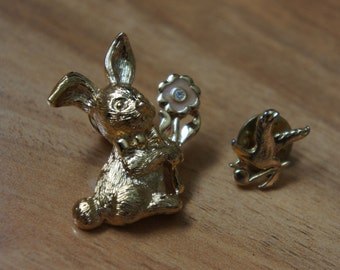 Vintage Jewelry Brooch Pin Icon Badge  ,Rabbit ,Bird , Animal ,CZ , Musik   P-088