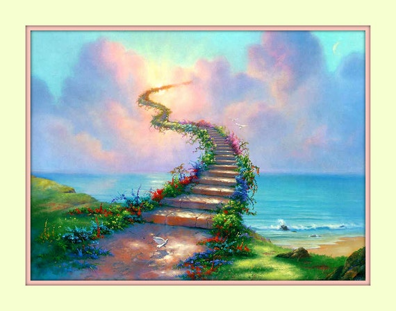 stairway to heaven rainbow bridge 11x14 matted 8x10 art print. Black Bedroom Furniture Sets. Home Design Ideas