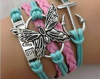 Butterfly Love Anchor Leather Adjustable Bracelet