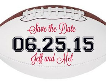 Save the Date Football - Personalized with Bride and Groom Names and Date of Wedding