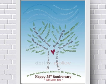 Personalized Family Tree PRINT, Custom Family Tree, Gift for Grandparents, Family Tree Art, Anniversary Gift, Mother's Day Gift, Wedding