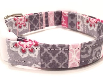 Pink floral design striped girly dog collar