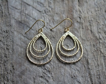 Matte Gold Hammered Tear Drop Hoops