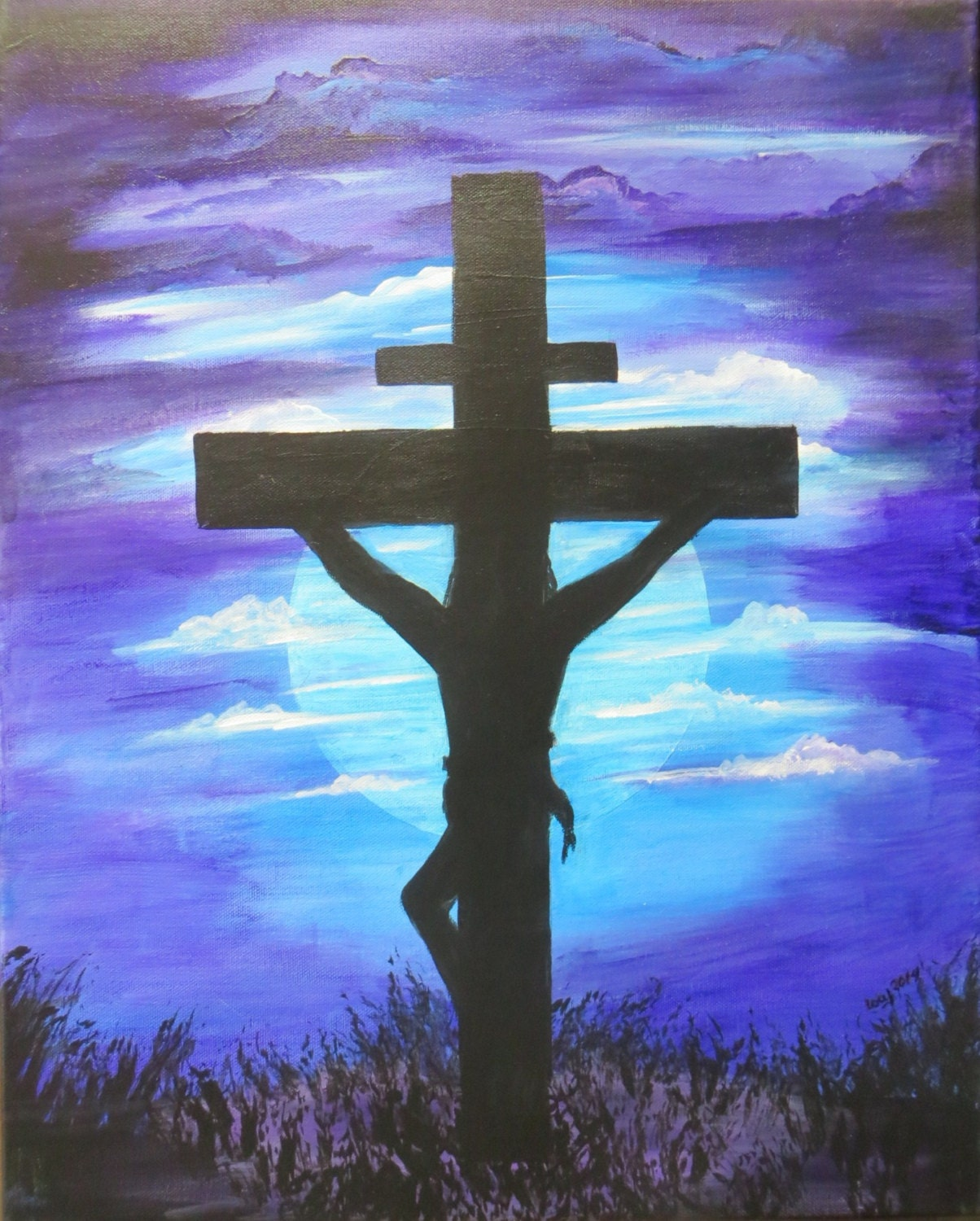 Jesus christ on the cross painting 16 x 20 acrylic on for Cross paintings on canvas
